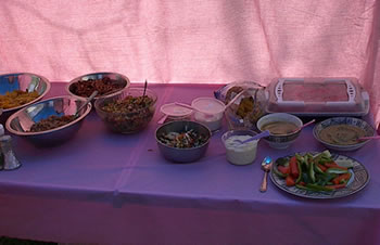 Food table from a previous picnic